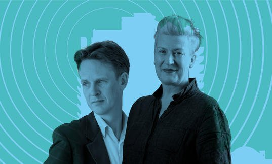 Ian Bostridge and Dame Sarah Connolly in front of a Barbican tower