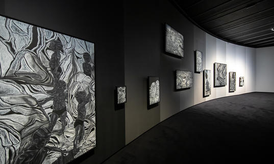 installation shot of toyin ojih odutola's a countervailing theory