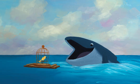 A bird talks to a whale in the sea, animation
