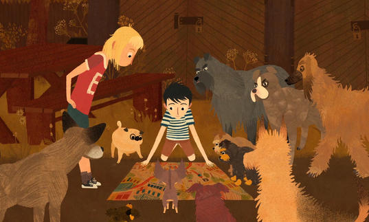 An animated still from Jacob, Mimmi and the Talking Dogs