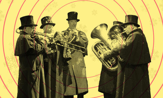 London Concert Brass with snowflakes and sonar waves in the background