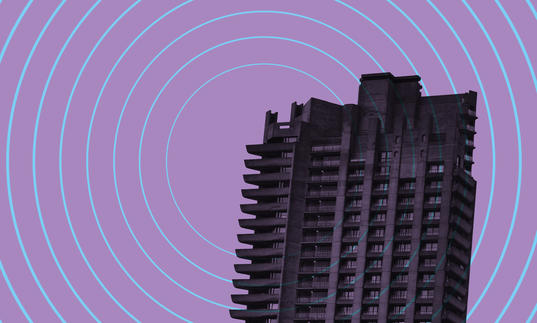 Barbican tower on purple background with sonar waves emitting from it