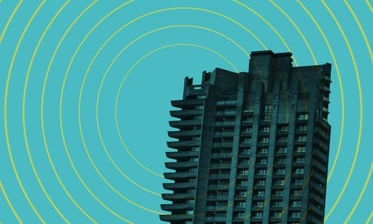 Barbican tower on blue background with radio waves emitting from it