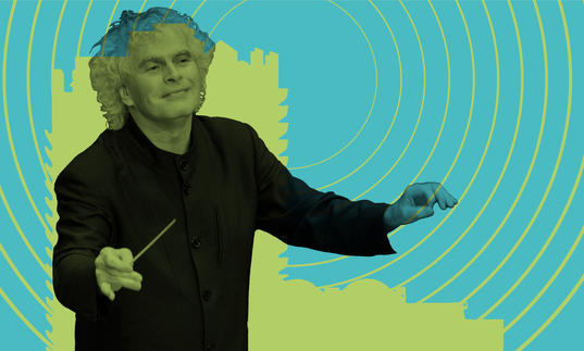 Simon Rattle conducting in front of a Barbican tower with radio waves emitting from it