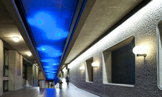 Photo of walkway inside the Barbican Centre