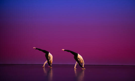 A coloured image showing two dancers from the Michael Clark Company against a blue and pink background