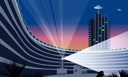 Illustration of Barbican Tower with lights