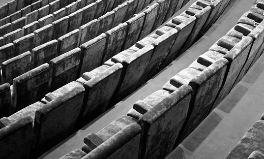 Black and white image of cinema seats