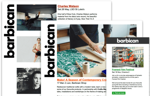 Example of Barbican newsletters